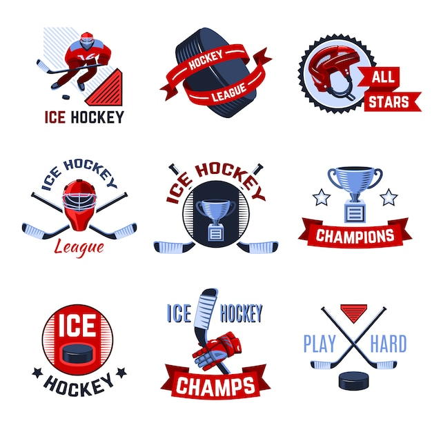 Hockey emblems set Free Vector