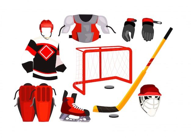 Хоккейная экипировка значки Бесплатные векторы