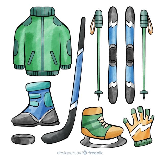 Hockey equipment illustration Free Vector
