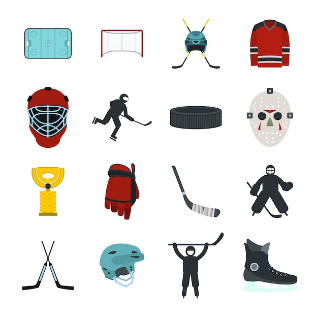 Hockey flat elements set for web and mobile devices Premium Vector
