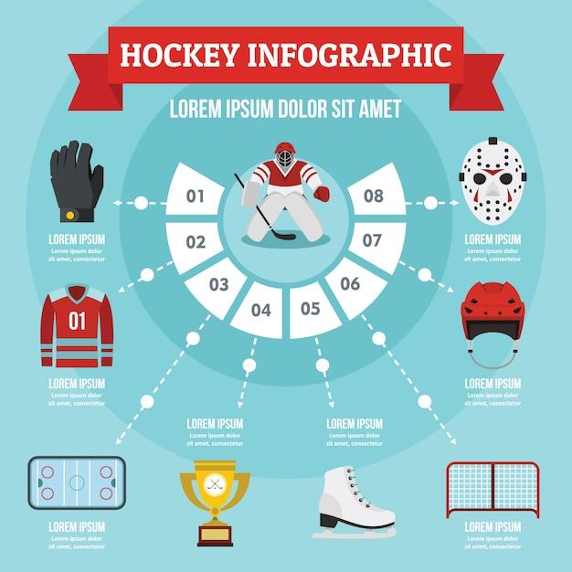 Hockey infographic concept, flat style Premium Vector