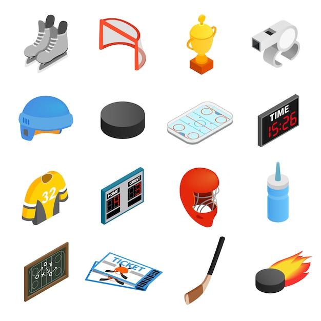 Hockey isometric 3d icons set Premium Vector