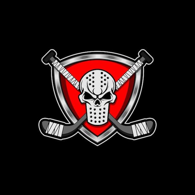 Hockey mask crest skull insert hockey sticks Premium Vector