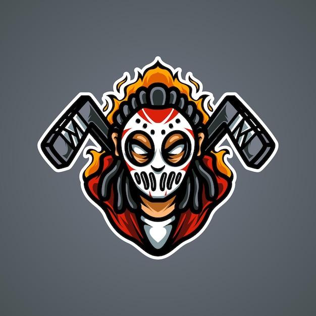 Логотип талисмана хоккеиста e sport Premium векторы