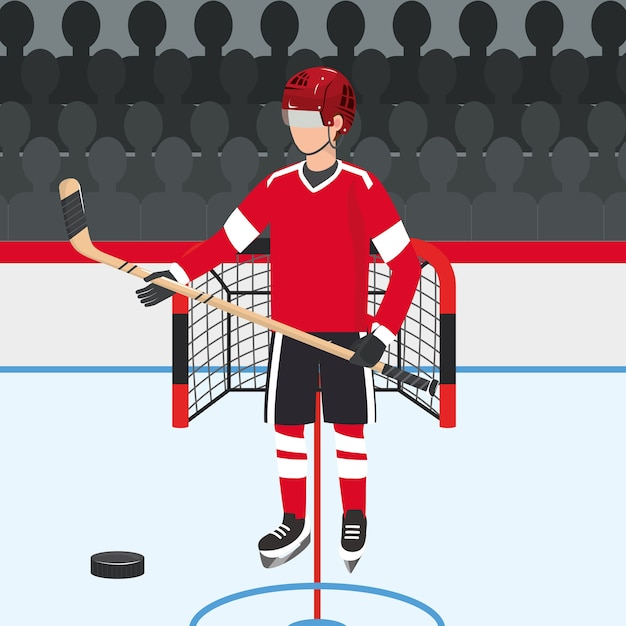 Hockey player with professional uniform and puck Premium Vector