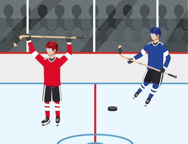 Hockey players competition with uniform and equipment Premium Vector