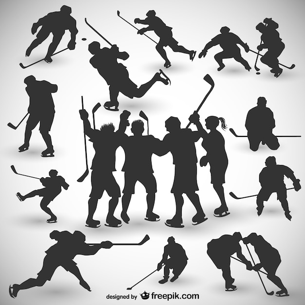 Hockey players silhouettes set Free Vector