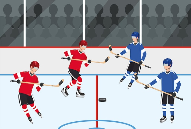 Hockey players team competition with equipment Premium Vector