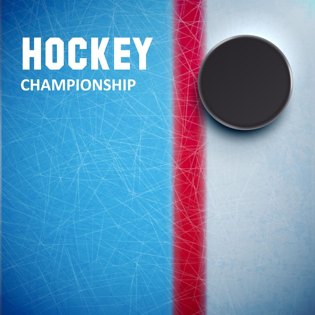Hockey puck isolated on ice top view Premium Vector