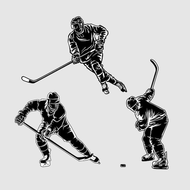 Хоккейный силуэт иллюстрация Premium векторы