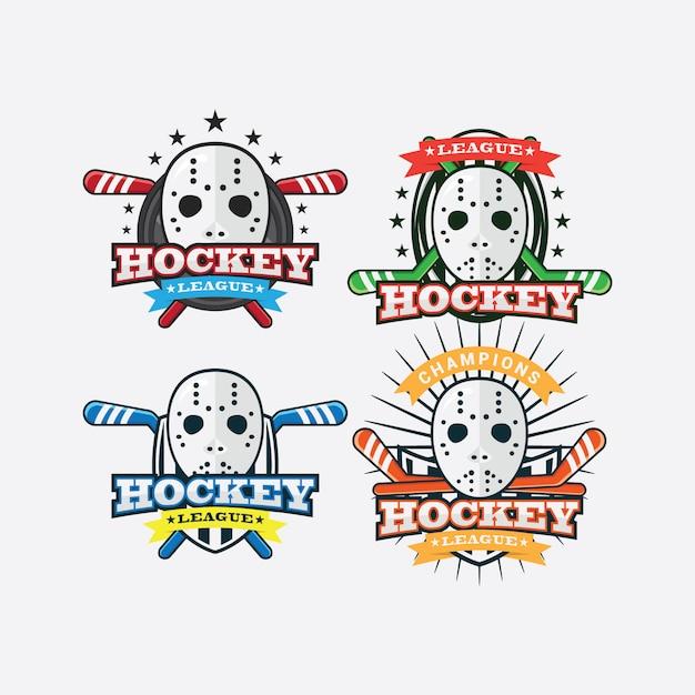 Hockey sport logo Premium Vector