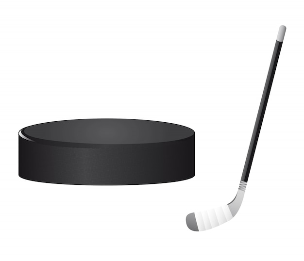 Hockey stick and hockey puck isolated vector illustration Premium Vector