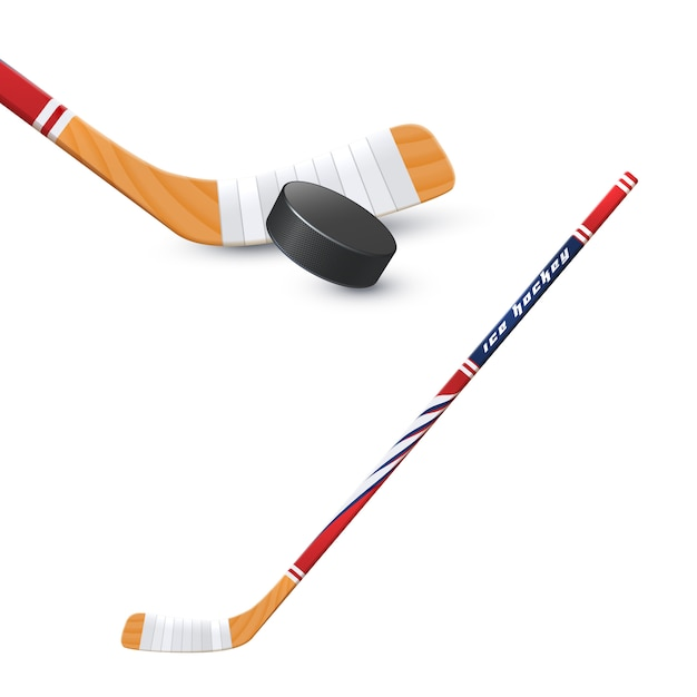Hockey stick and puck Free Vector