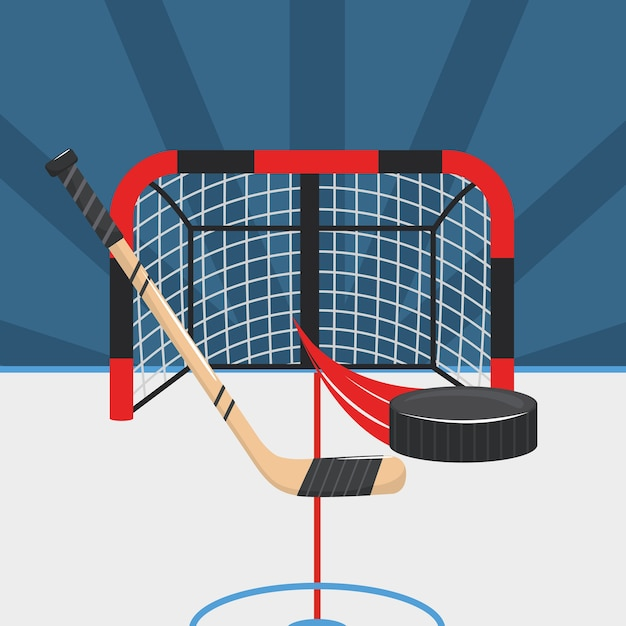 Hockey sticks with puck and goal in the rink Premium Vector