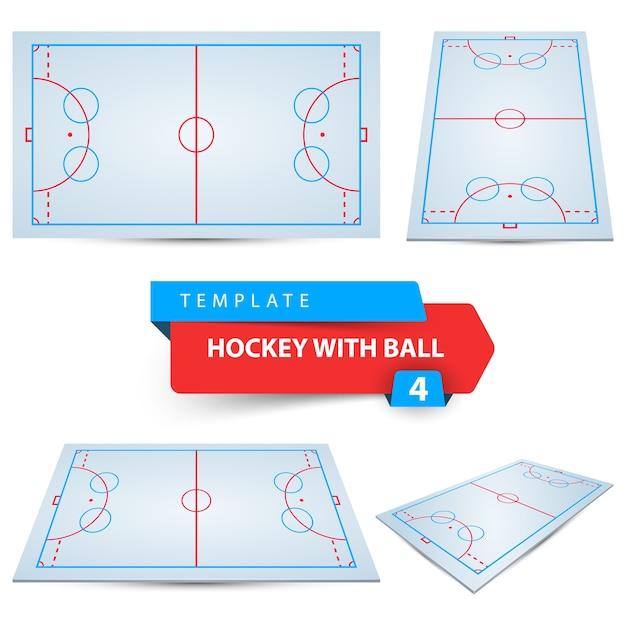 Hockey with ball. Premium Vector