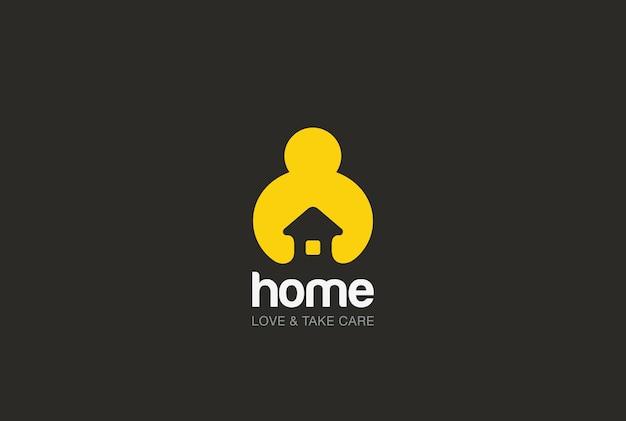 手を繋いでいる家のロゴアイコン。負のスペーススタイル。 無料ベクター