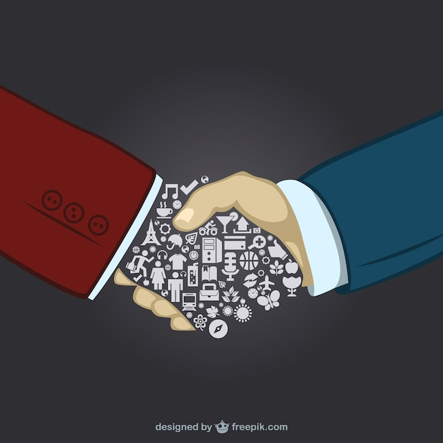 Holding hands and one of them made of daily life icons Free Vector