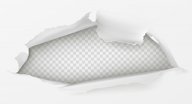 흰 종이에 구멍 3d 현실 무료 벡터