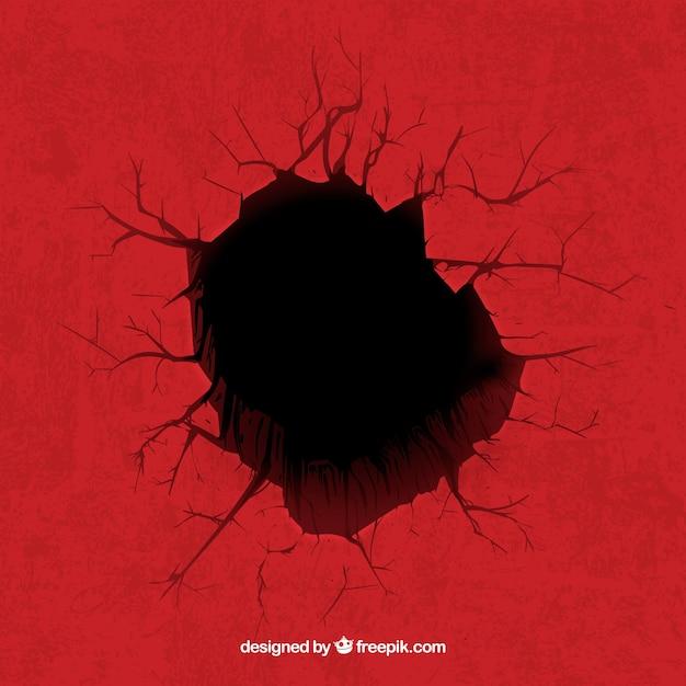 赤い背景に穴 Premiumベクター