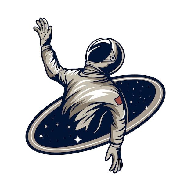 ブラックホールの図にhole死する宇宙飛行士 Premiumベクター