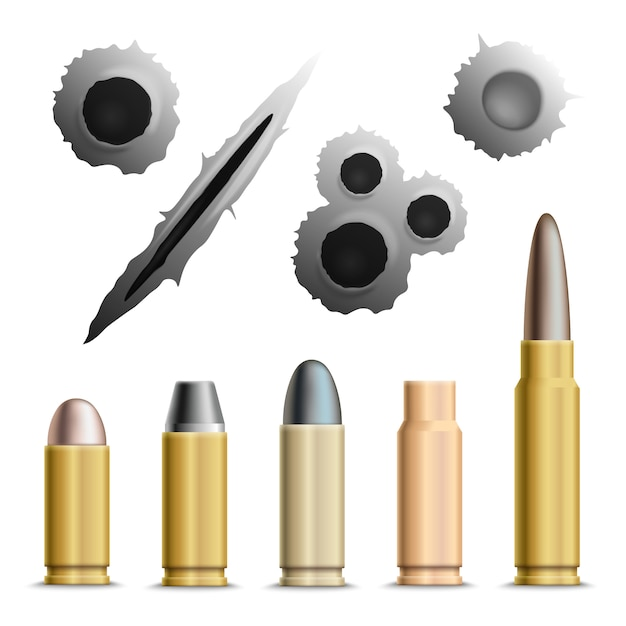 Holes and bullets collection Free Vector
