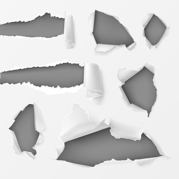 Holes and gaps in white background set Free Vector
