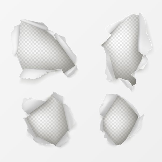 Holes in white paper sheet realistic set Free Vector