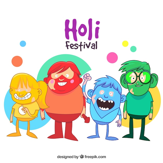 Character Design Free Download : Holi background design with characters vector free download