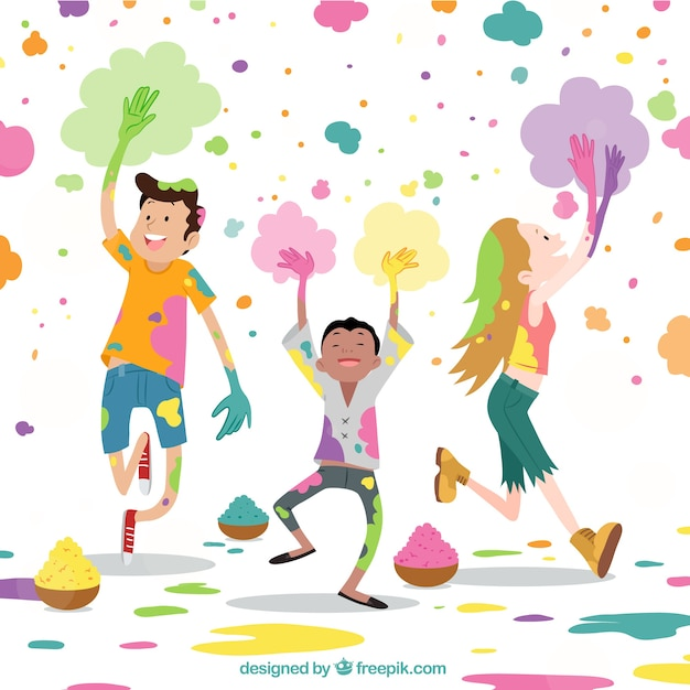 Holi background design with joyful kids Free Vector