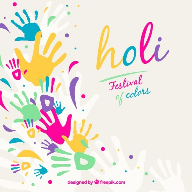 Holi background with colorful handprints Free Vector