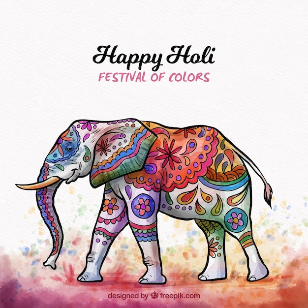 Holi background with elephant Free Vector