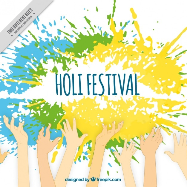 Holi background with raised hands