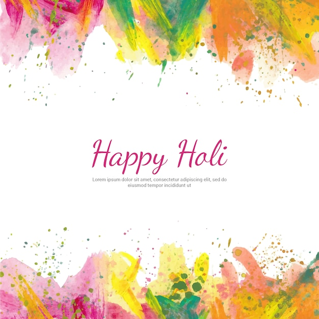 Holi background with watercolors Free Vector