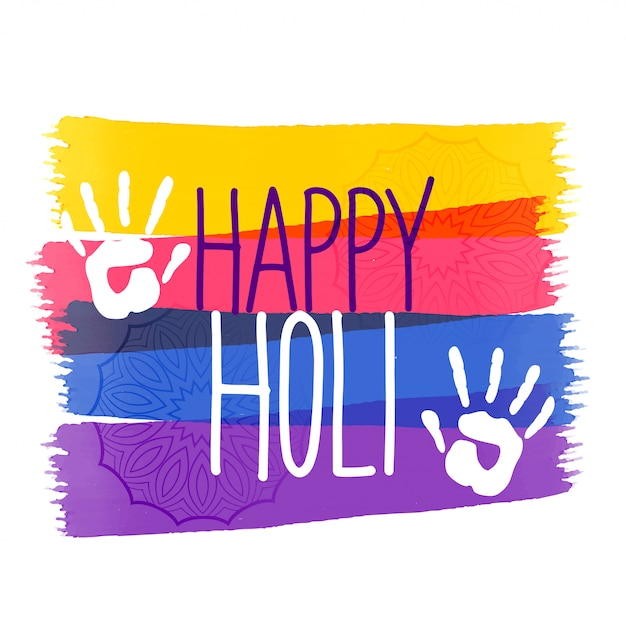 Holi colors festival background with hand impression Free Vector