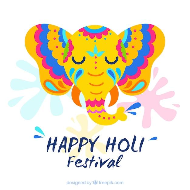 Holi design with elephant Free Vector