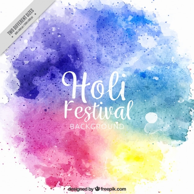 Holi festival background painted with watercolor Premium Vector
