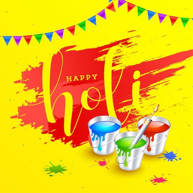 Holi festival background. Premium Vector