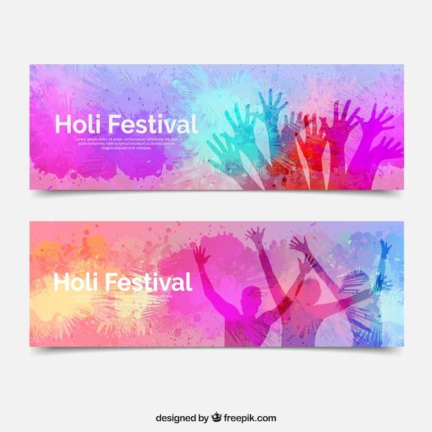 Holi festival banners Free Vector