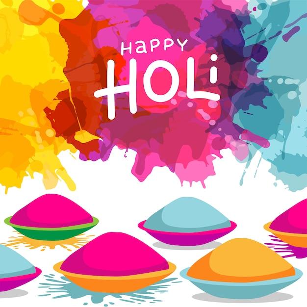 Holi festival celebration  with bowls full of powder colours on splash blot colourful .  greeting card . Premium Vector