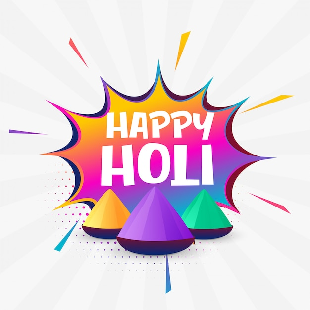 Holi festival colorful background design Free Vector