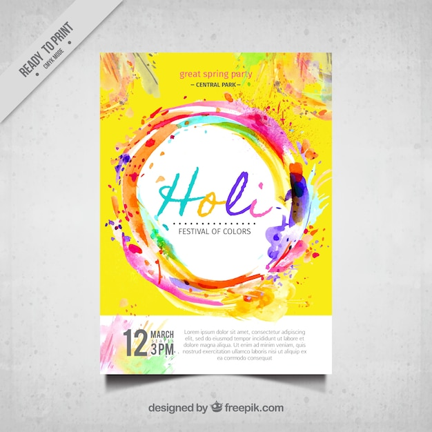 Holi festival colorful brochure Free Vector