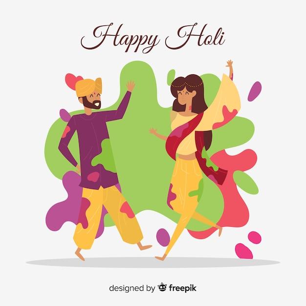Holi festival dancers background Free Vector