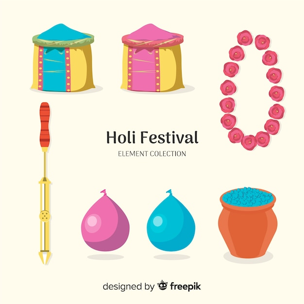 Holi festival element collection Free Vector