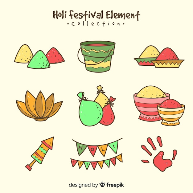 Holi festival elements pack Free Vector