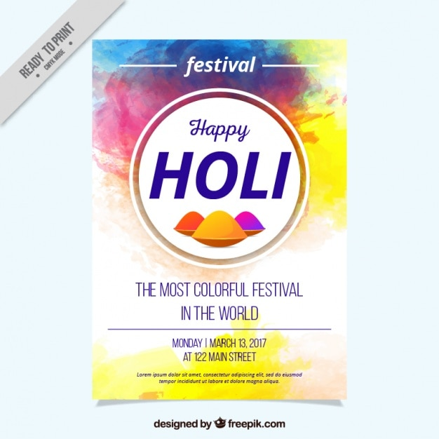 holi festival flyer template painted with watercolor vector free
