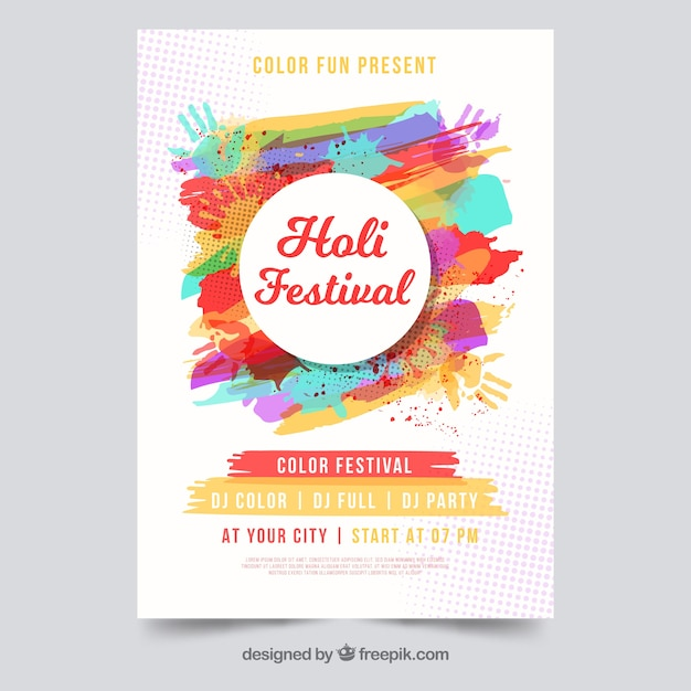 Holi festival flyer template Free Vector