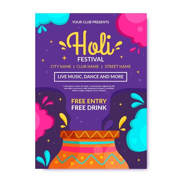 Holi festival flyer template Free Vector