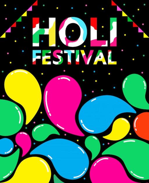 Holi festival illustration for international day. Premium Vector