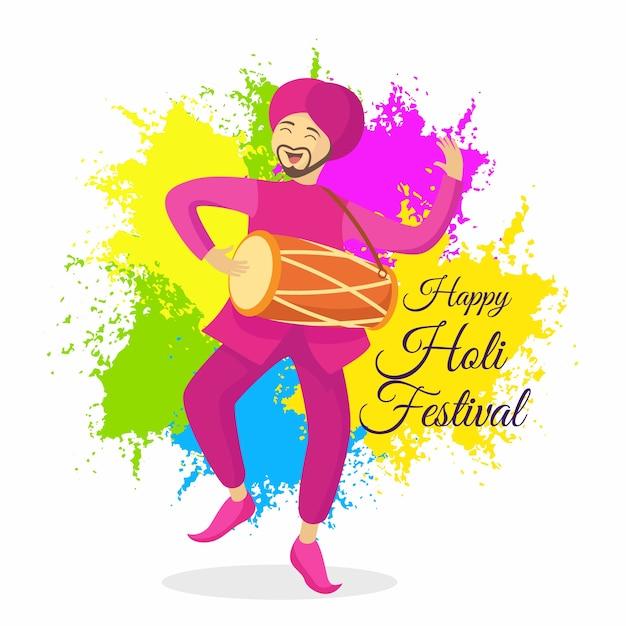 Холи фестиваль в плоском дизайне Бесплатные векторы