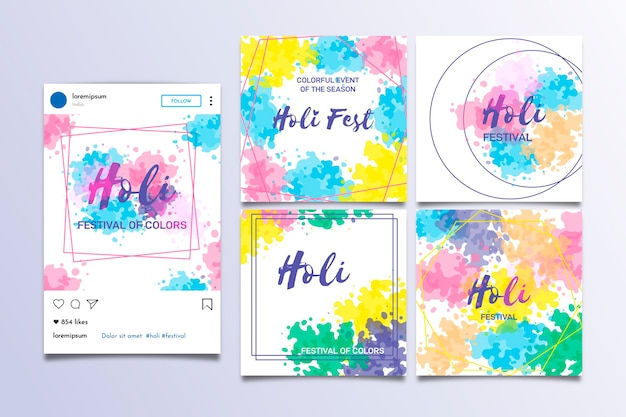 Holi festival instagram post collection template Free Vector